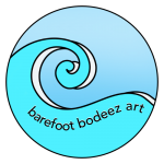 image of big blue wave logo for barefoot bodeez art