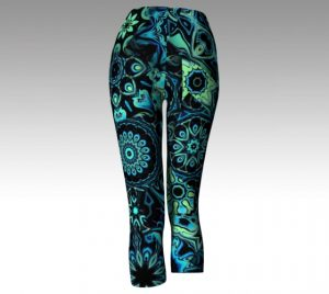 image of patchwork look blue and green yoga leggings